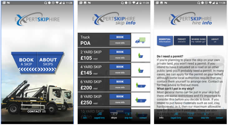 Skip hire app for Apple and Android devices