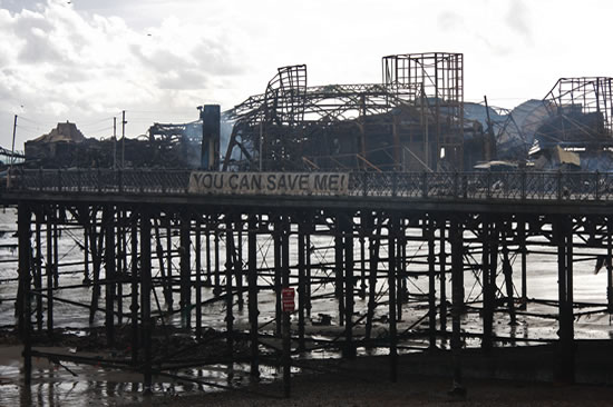 Hastings Pier destroyed by fire in October 2010